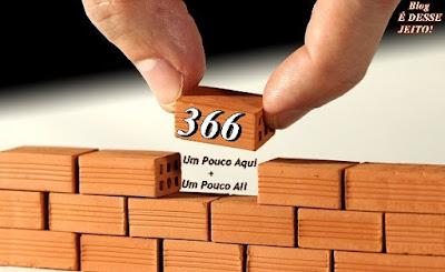 """Imagem de uma construção com 366 tijolos, representando o que este Novo Projeto: """"Um Pouco Aqui + Um Pouco Ali"""" almeja, que é Estudar Toda a PALAVRA de DEUS EM 366 ESPECIAIS ESTUDOS+. É DESSE JEITO!"""
