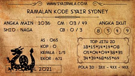 Kode Syair Sydney Sabtu 10-Apr2021