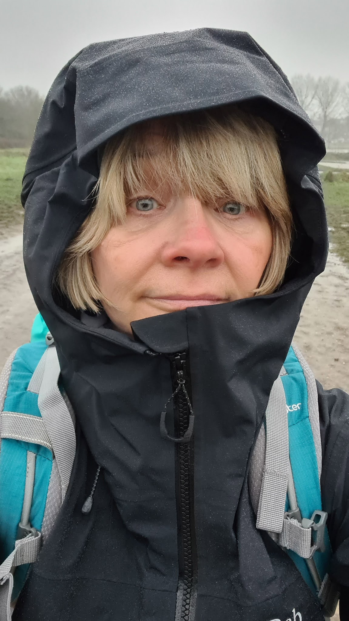 Ready for bad weather walking: Gail Hanlon from blog Is This Mutton wearing Rab waterproof anorak
