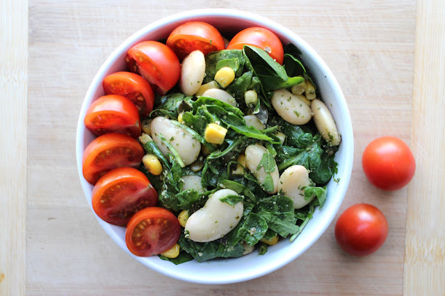 Butter Bean, Spinach and Pesto Salad