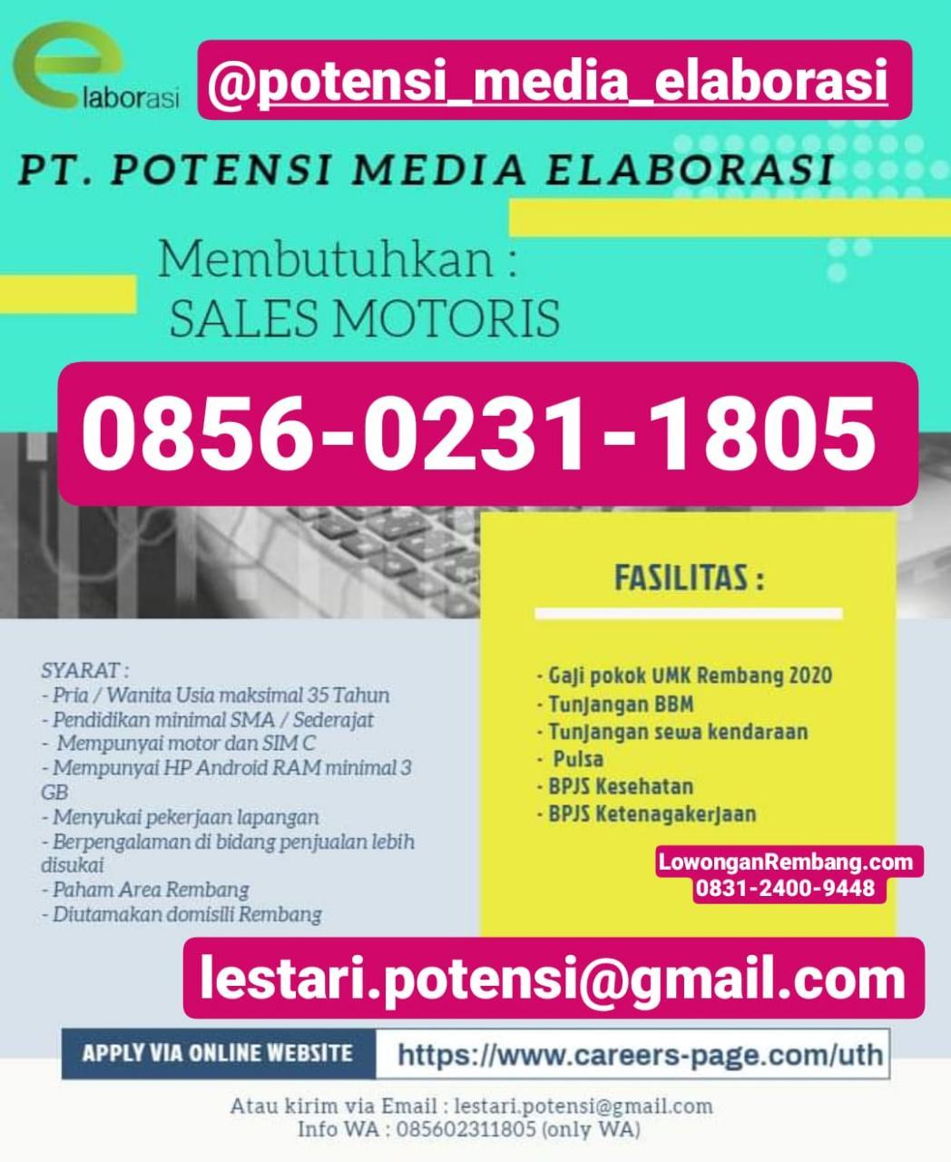 PT Potensi Media Elaborasi Buka Lowongan Kerja Sales Motoris Penempatan Rembang