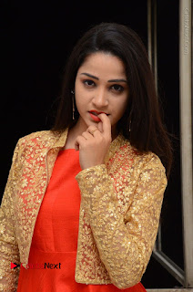 Telugu Actress Divya Nandini Stills in Orange Sleeveless Gown at Chennai Chaitrama Movie le Launch Event  0086.JPG