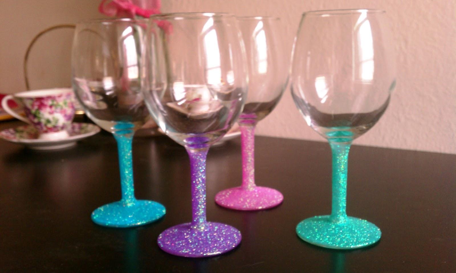 Cupcakes Amp Couture Diy Glitter Wine Glasses
