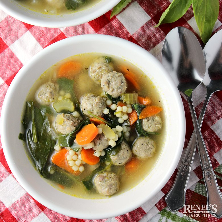Overhead view of a bowl of Easy Italian Wedding Soup by Renee's Kitchen Adventures