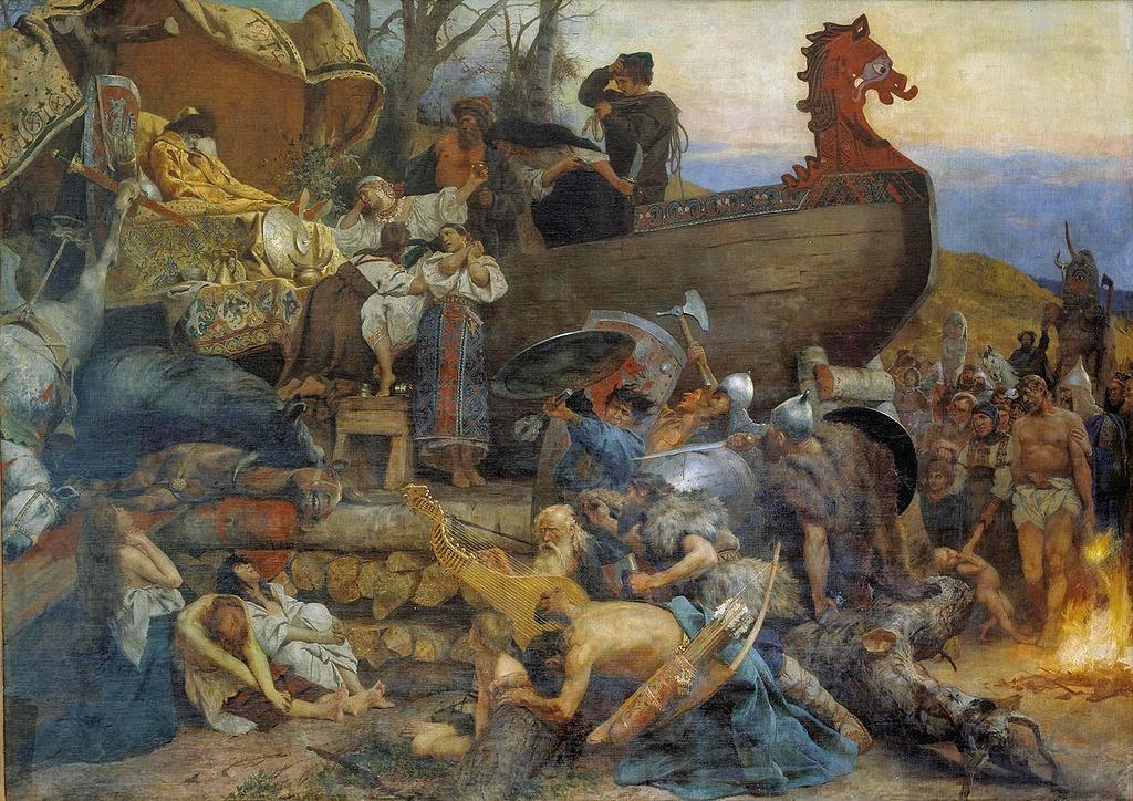 Enterro de um Chefe Varangian - Henryk Siemiradzki e suas pinturas ~ Polonês