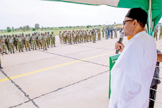 Finish Boko Haram Quickly So That You Can Return To Your Families..Buhari Orders Soldiers
