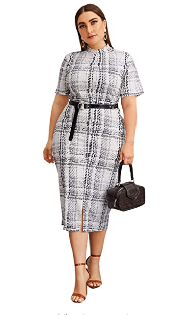 Short Sleeve Plus Size Gingham Bodycon Business Pencil Dress
