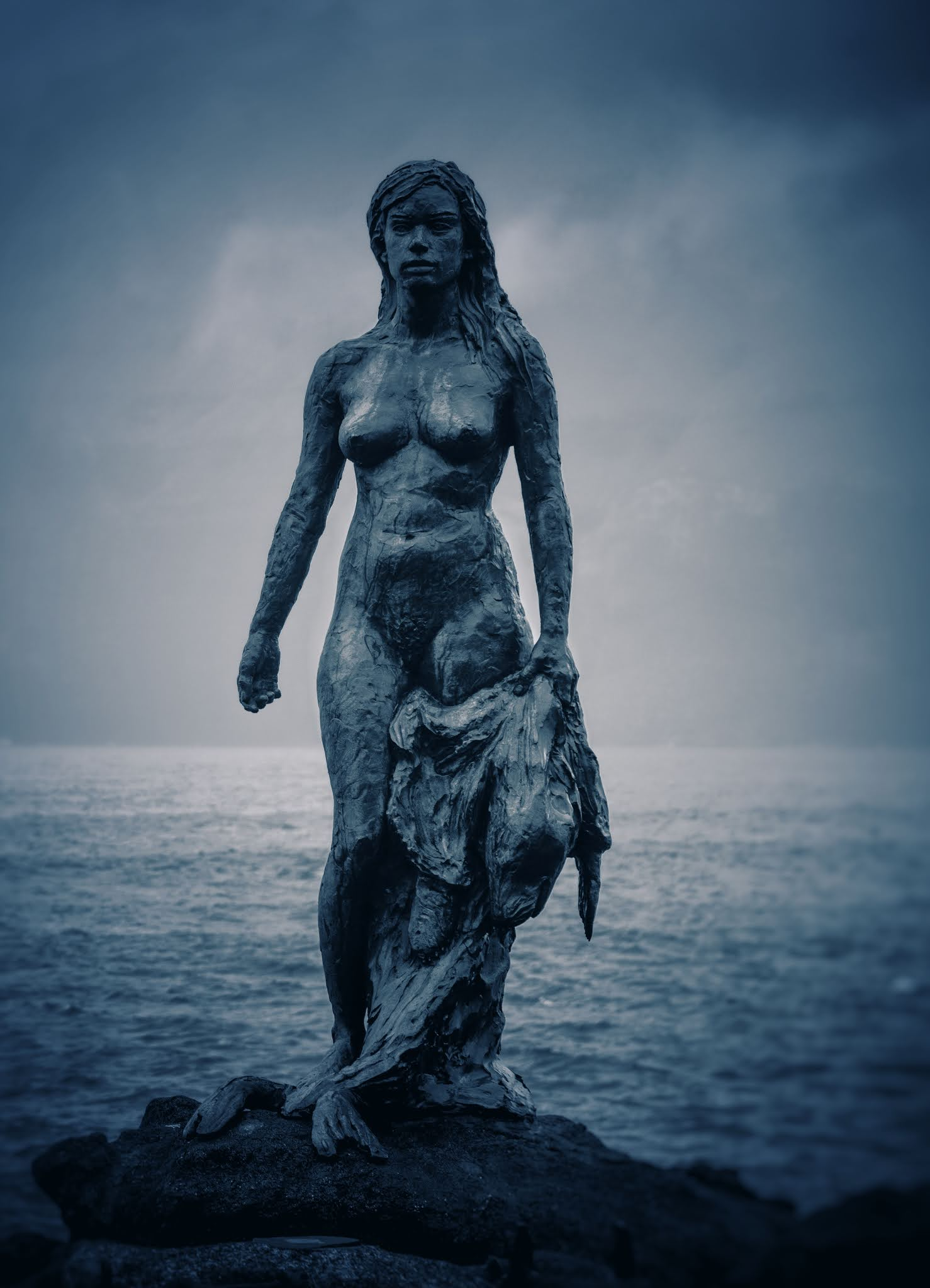 The selkie statue in Mikladalur, Faroe Islands.