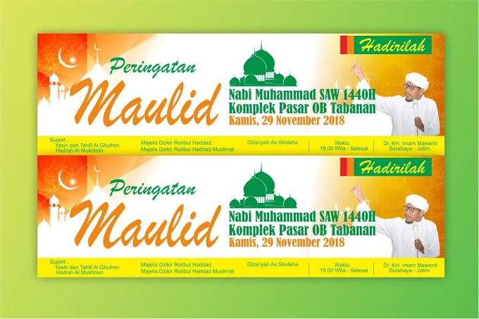 Download Template Banner Maulid Format CDR 2019