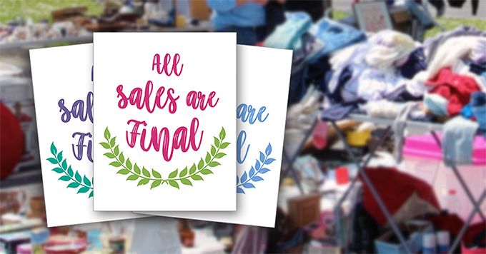 """Cute """"All Sales Are Final"""" signs - Free Printables"""
