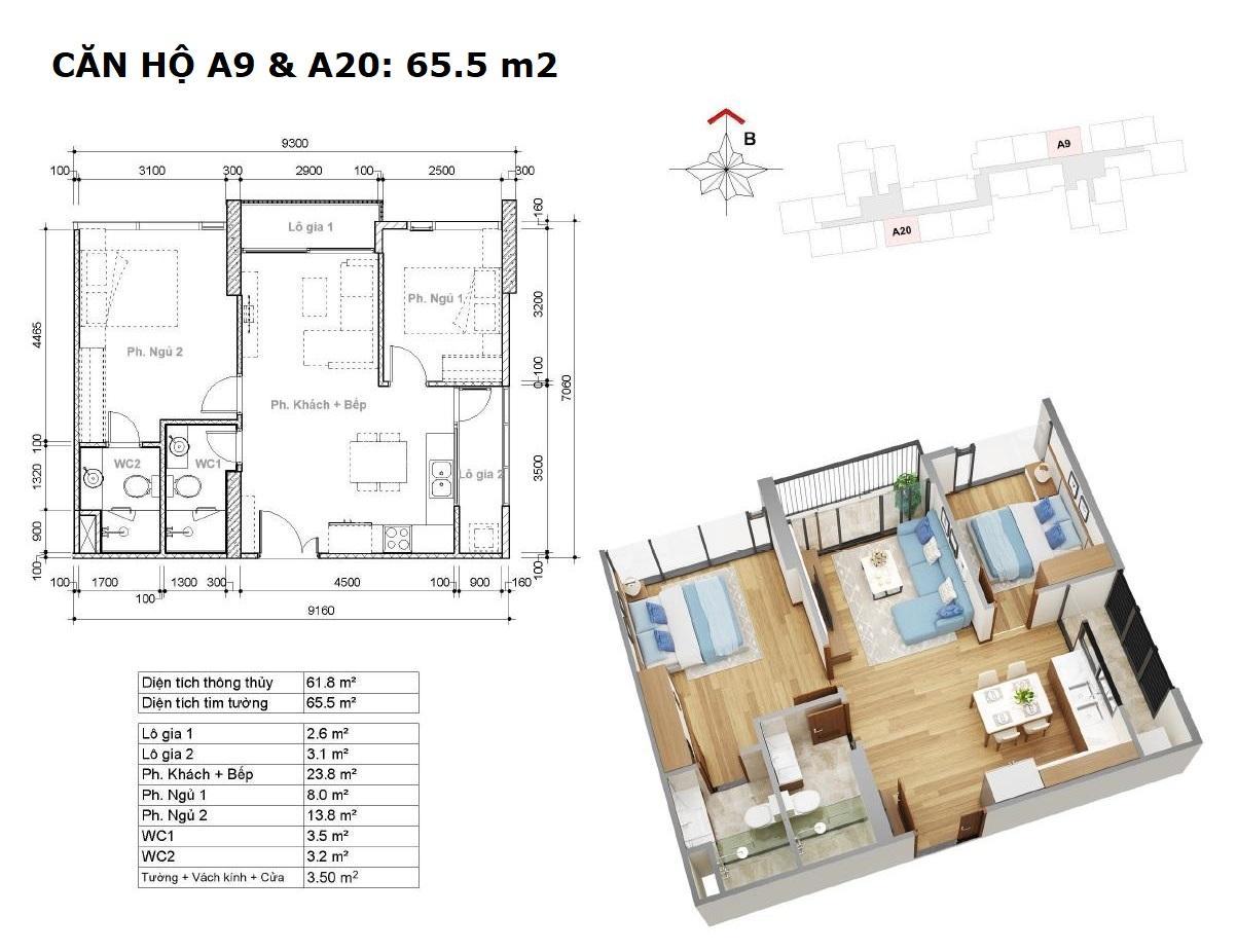 Thiết kế căn hộ 2pn 65.5 m2 Dự án Eco Green Saigon