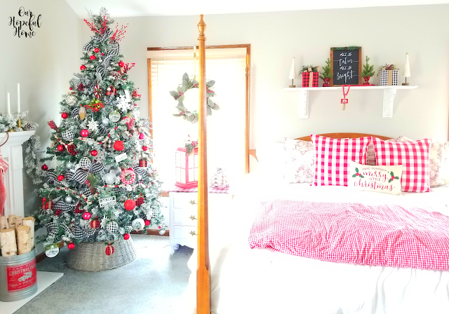 decorated Chrismas tree farmhouse Christmas bedding