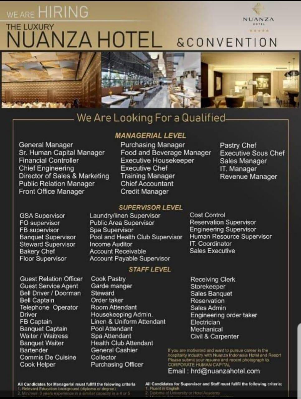 Nuanza Hotel Loker May 2019 Hotelier Indonesia Jobs
