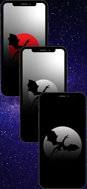 dragon silhouette in moon dark night phone wallpapers hd