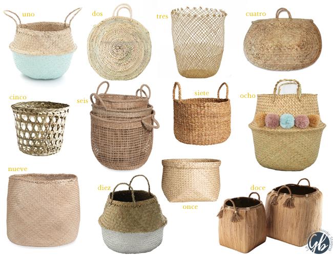La mejor guía de compras: cestos y cestas de rafia, mimbre y rattán