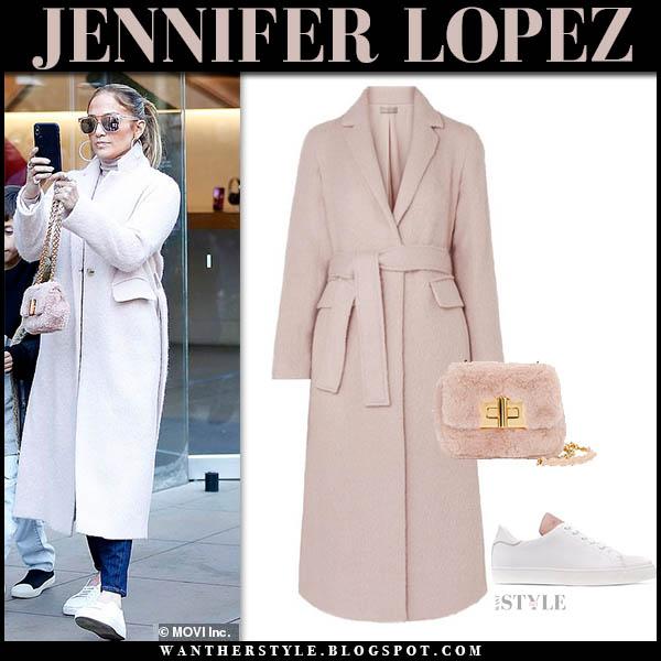 Jennifer Lopez in pale pink vince coat with pink faux fur tom ford natalia bag winter celebrity outfits december 28