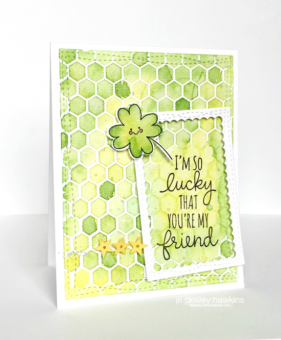 Lucky stamp set and Die-namics, Mini Chicken Wire Background stamp, and Wonky Stitched Rectangle STAX Die-namics - Jill Dewey Hawkins #mftstamps