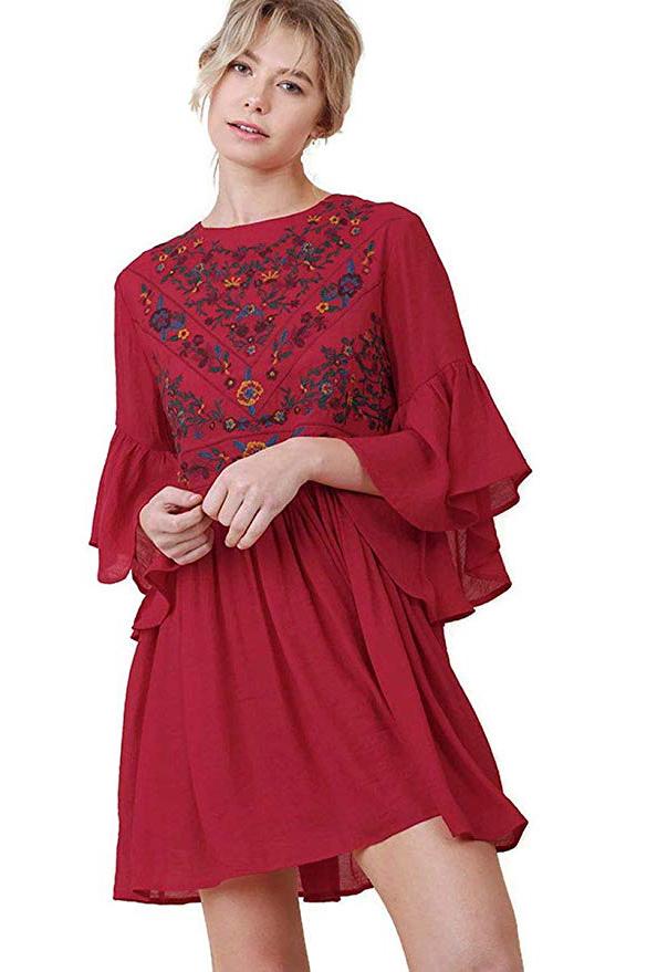 Sleeve Mini Dress Bohemian