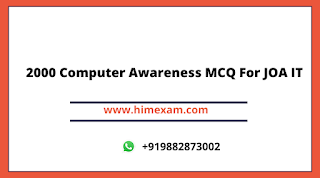 2000 Computer Awareness MCQ For JOA IT