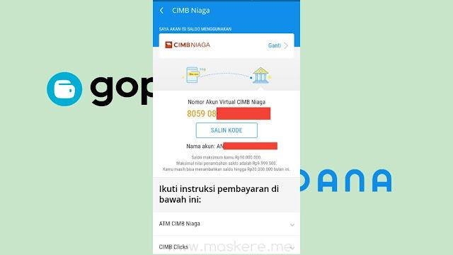 Nomor virtual account CIMB NIAGA Top Up Saldo DANA