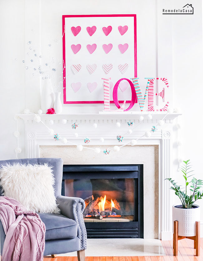 Yarn wrapped love - mantel display