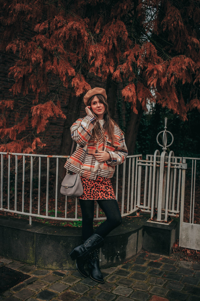 70s Vibes in Plaid Utility Jacket, leopard skirt and Cowboy Boots