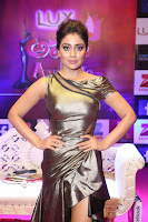 Shreya Saran in Golden Tight fit LegSplit Gown at Zee Telugu Apsara Awards 2017 09.JPG