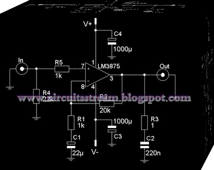 56W High Audio Amplifier Use LM3875 Circuit Diagram