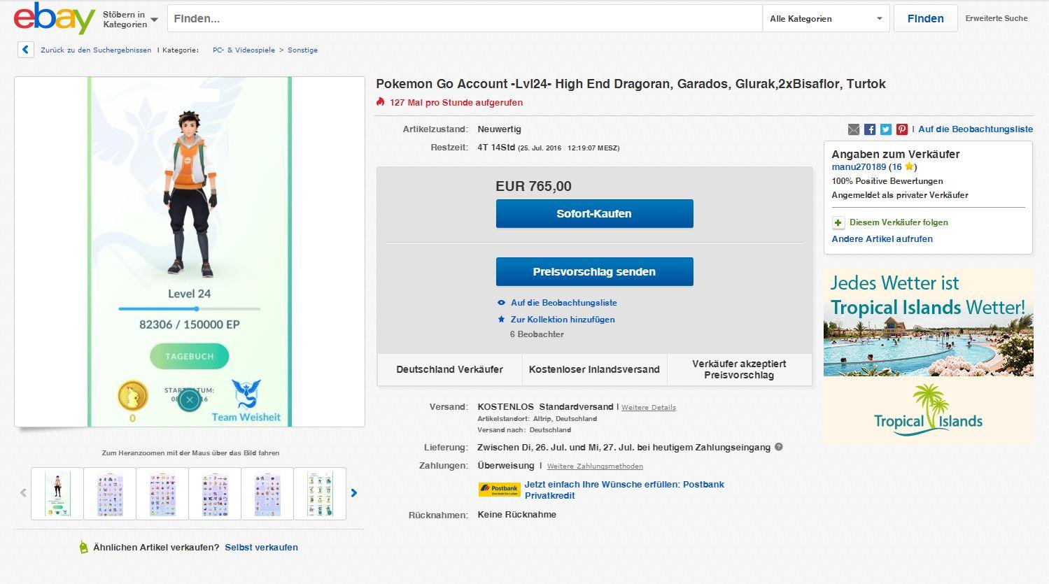 ihr braucht geld dann verkauft doch f r 1000 euro euren pok mon go account bei ebay. Black Bedroom Furniture Sets. Home Design Ideas