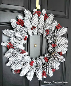 Vintage, Paint and more... making a seasonal wreath using found pine cones and faux berries