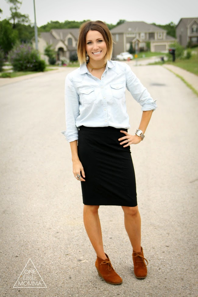 Denim shirt, black pencil skirt, wedge ankle boots