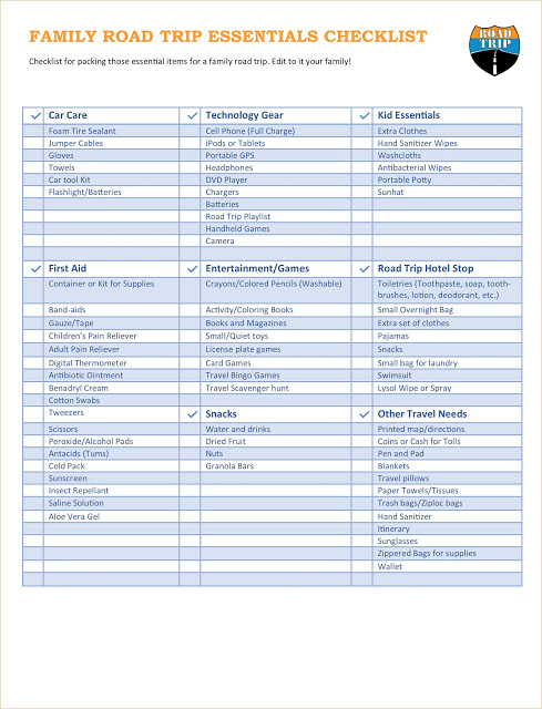 travel checklist for family