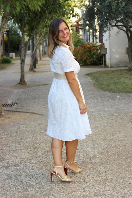 look du jour, robe sézane blanche, sac Minelli, les petites bulles de ma vie