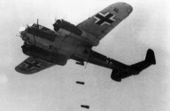 17 April 1940 worldwartwo.filminspector.com Ju 17 dropping bombs