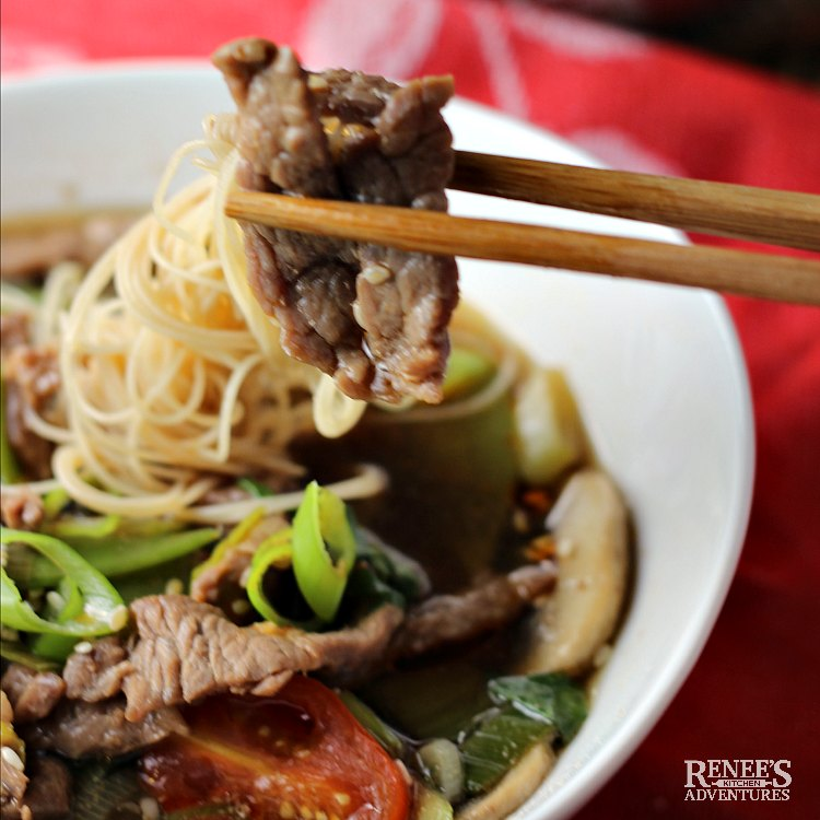 Close up of piece of beef and noodles on chopsticks over a bowl of Spicy Chinese Beef Noodle Soup by Renee's Kitchen Adventures