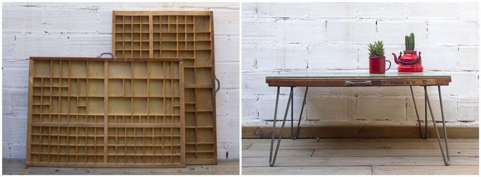Antes y después - Un cajón de imprenta transformado en una mesita
