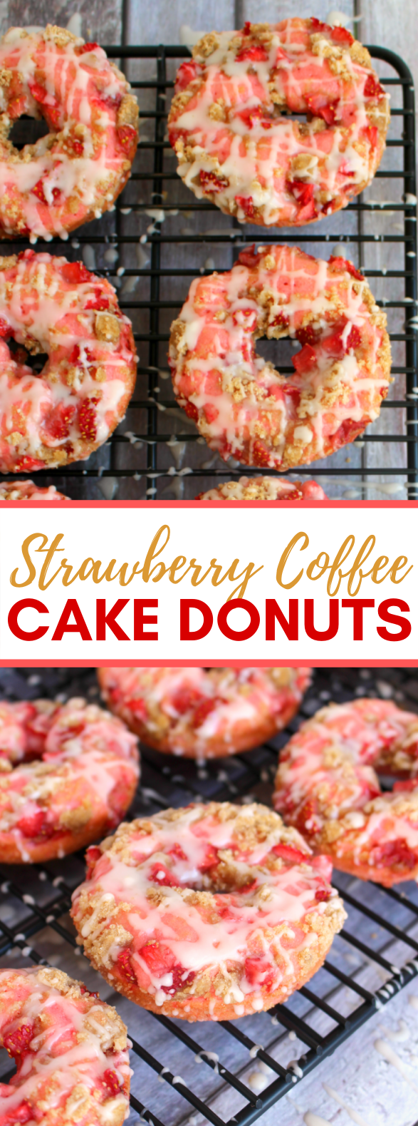 Strawberry Coffee Cake Donuts #desserts #sweets