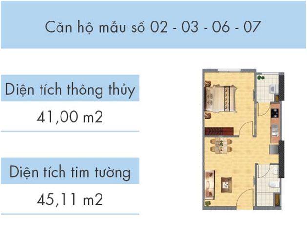 Căn hộ số 02, 03, 06, 07 tòa CT1A