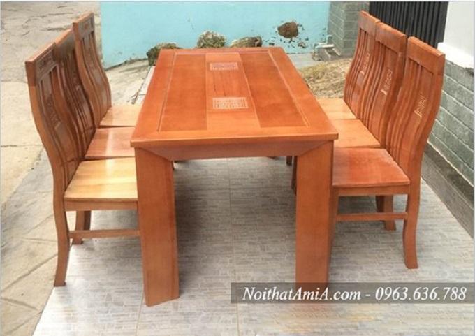 bàn ăn gỗ sồi mặt kính 6 ghế BA016