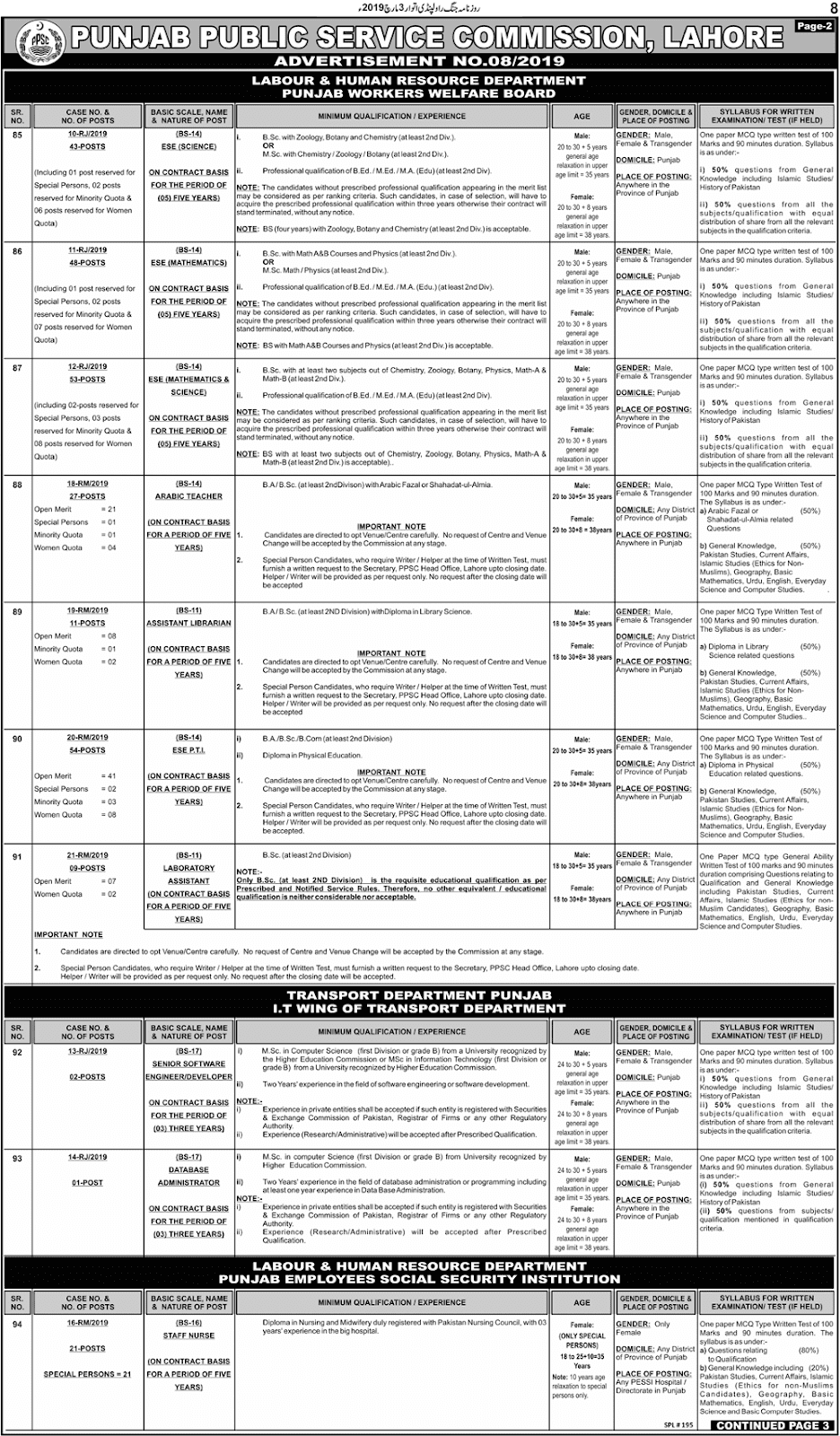 PPSC Advertisement 08/2019 Page No. 2/3