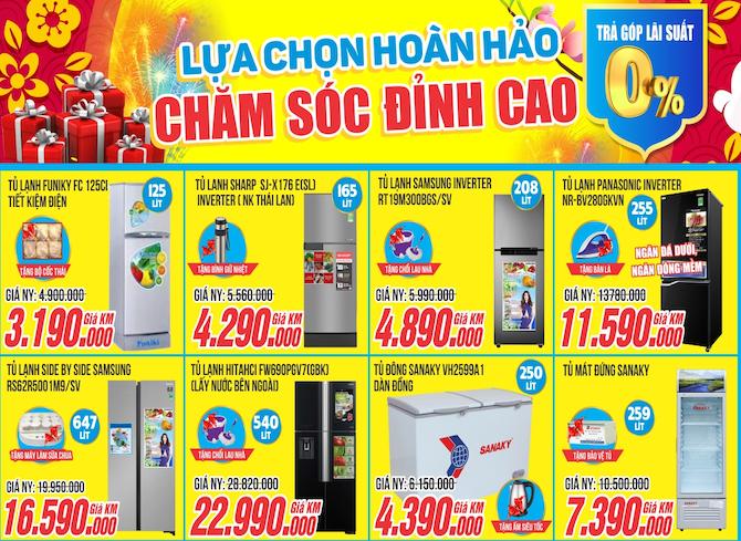 Tủ lạnh giá rẻ, trả góp 0%