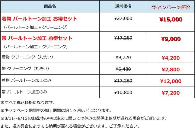 パールトーン加工のキャンペーン価格