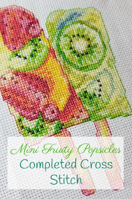 Finished Mini Fruity Popsicles Cross Stitch