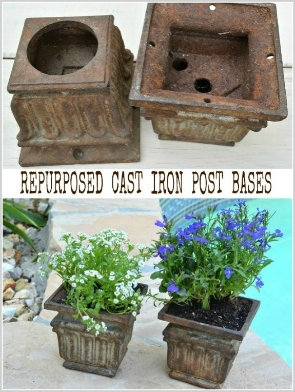 Repurposed cast iron post bases as garden planters and tea light holders