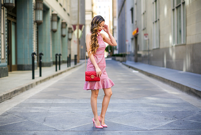 banana republic cross back dress, gucci marmont bag, christian louboutin heels, baublebar earrings, banana republic simply sophisticated summer, summer outfit ideas, san francisco street style, san francisco fashion blog