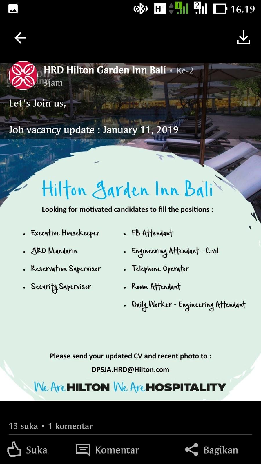 Lowongan Kerja Hilton Garden Inn Bali 9 Posisi Lowongan Kerja Hotel