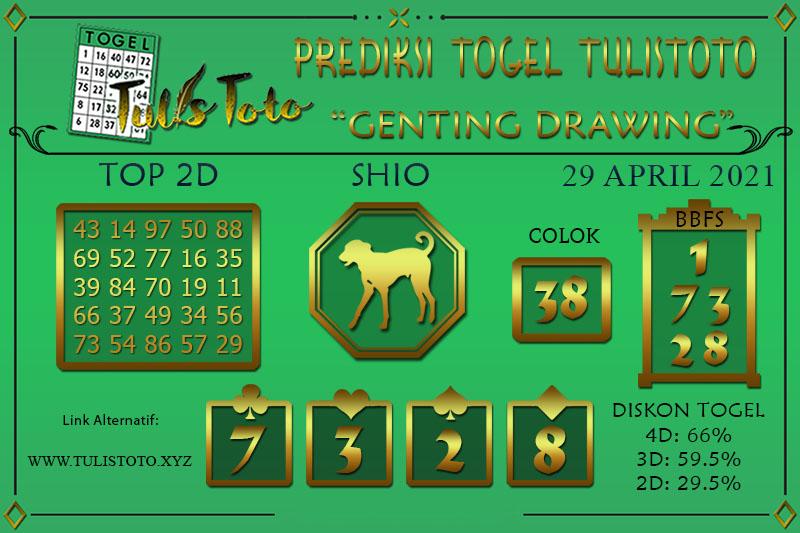 Prediksi Togel GENTING DRAWING TULISTOTO 29 APRIL 2021