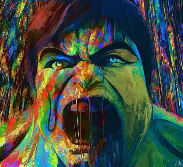 05-The-Incredible-Hulk-Dr-Bruce-Banner-Nicky-Barkla-Psychedelic-Celebrity-Portrait-Paintings-www-designstack-co