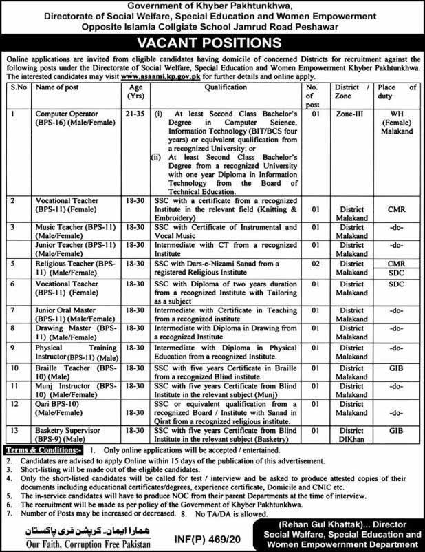 Special Education and Women Empowerment Department Jobs