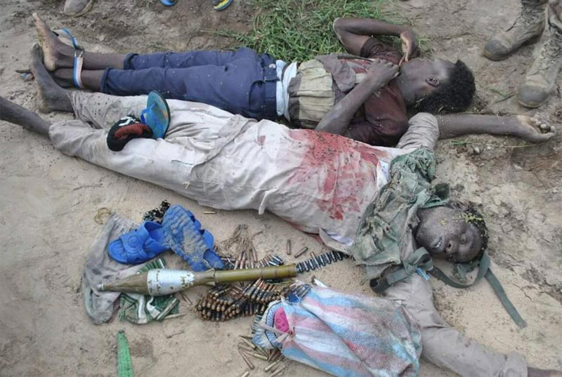 Graphic photos: Boko Haram members killed as terrorists attacked Army position in Sambisa Forest
